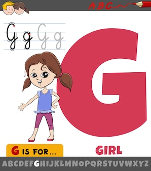 Letter g from alphabet with cartoon girl kid character
