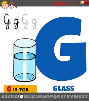 Буква g от алфавита с мультяшным стаканом воды