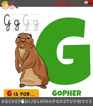 漫画のホリネズミの動物のキャラクターとアルファベットからの文字g