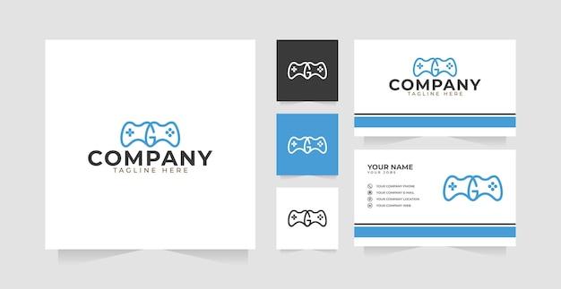 편지 g 게임 패드 로고 디자인 영감과 명함