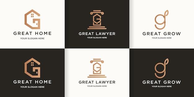 Letter g house law leaf combination logo
