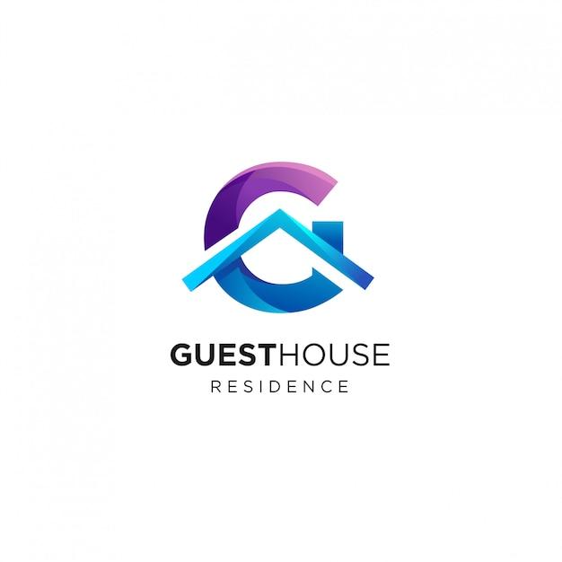 Шаблон дизайна логотипа letter g house