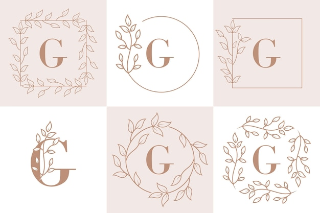 Letter g initial with floral frame template