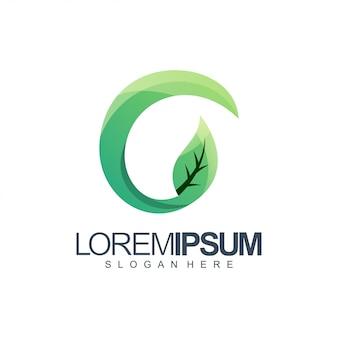 Letter g leaf logo illustration