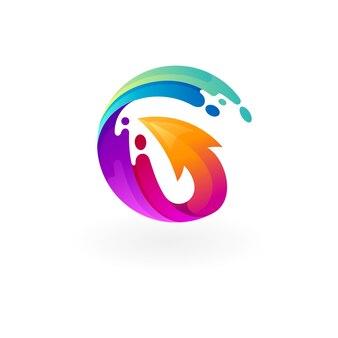 文字gのロゴと矢印のデザインがカラフルなウォータースウッシュのロゴ