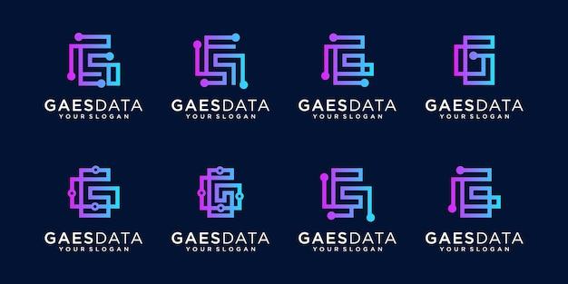 テクノロジーとビジネスフラットアイコンの文字gロゴコレクション