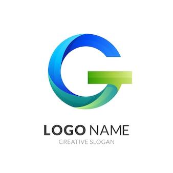 3dカラフルなスタイルの文字gロゴのコンセプト