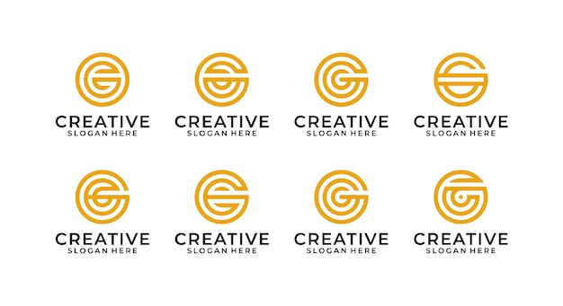편지 g 로고 디자인 번들 템플릿