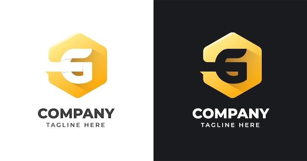 기하학적 모양 스타일 편지 g 로고 디자인 서식 파일