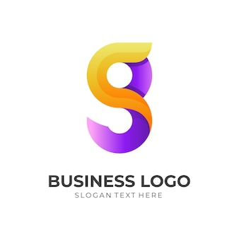 Letter g logo design with 3d purple and yellow color style