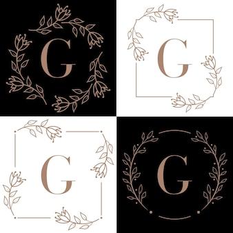 蘭の葉の要素と文字gロゴデザイン