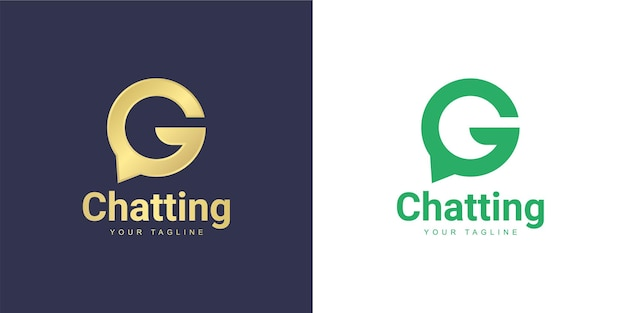 The letter g logo has a chat concept