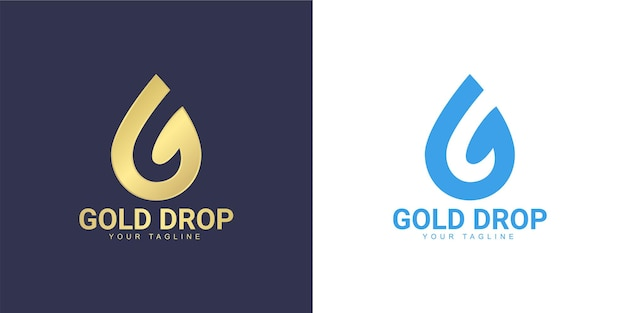 The letter g logo has a water drop concept