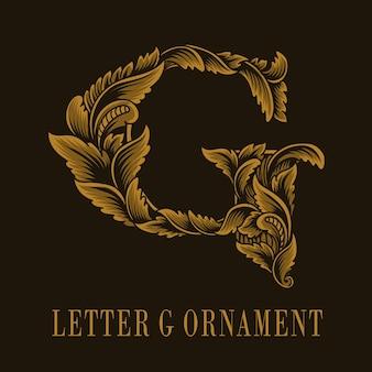 Letter g logo vintage ornament style