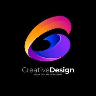 3dカラフルなデザイン、光沢のあるアイコンと文字gロゴ