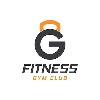 Буква g логотип со штангой. фитнес-зал логотип. фитнес вектор дизайн логотипа для тренажерного зала и фитнеса.