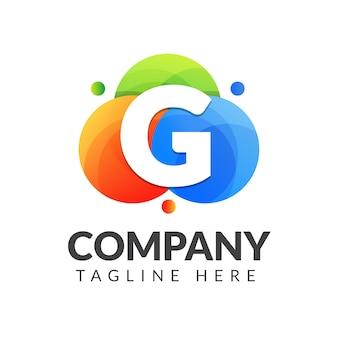 Буква g логотип с красочным фоном круга для творческой индустрии, интернета, бизнеса и компании