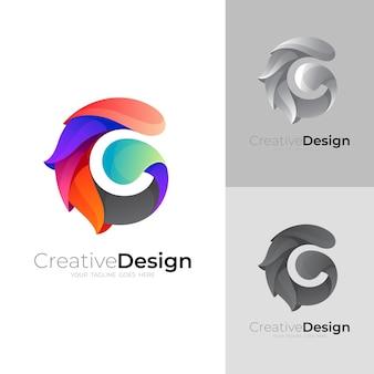 文字 g ロゴ カラフルなデザインのベクトル、g アイコン テンプレート
