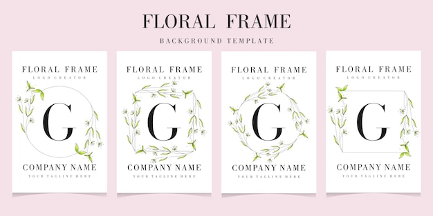 Letter g logo with floral frame background template