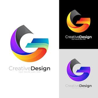 モダンなデザインテンプレートと文字gロゴ、セットgロゴ