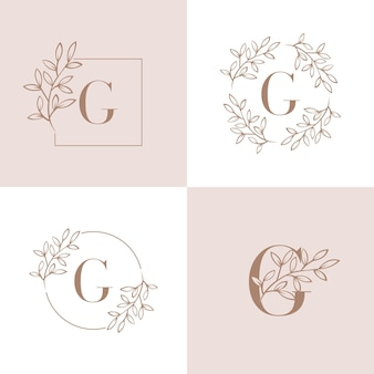 Letter g logo with orchid leaf element