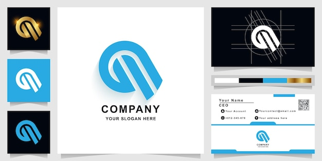 Letter a or g monogram logo template with business card design