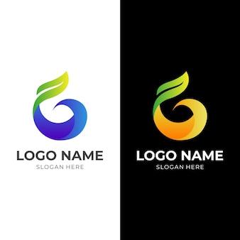 文字gの自然のロゴ、文字gと葉、3dカラフルなスタイルの組み合わせのロゴ