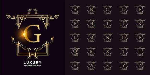 편지 G 또는 고급 장식 꽃 프레임 황금 로고 템플릿이 있는 컬렉션 초기 알파벳입니다. 프리미엄 벡터
