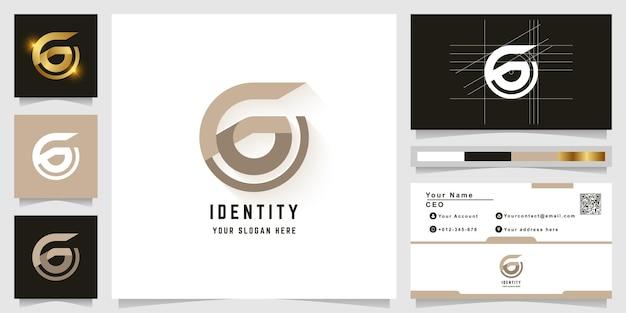 名刺デザインの文字gまたはgoモノグラムロゴ