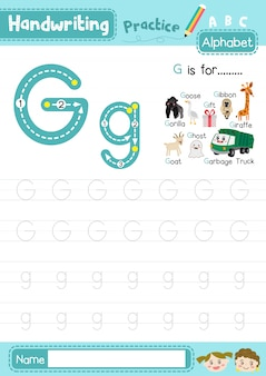 Letter g uppercase and lowercase tracing practice worksheet