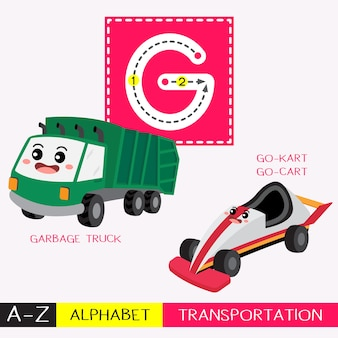 Letter g uppercase tracing transportations vocabulary