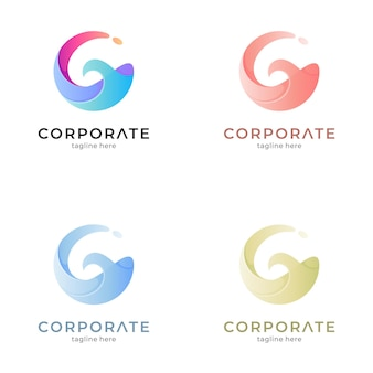 Letter g and wave logo template