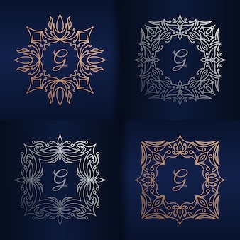 Letter g with floral frame logo template
