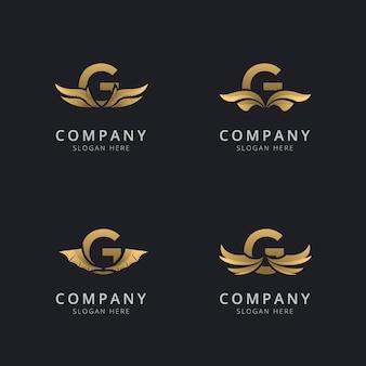 Буква g с роскошным абстрактным шаблоном логотипа крыла