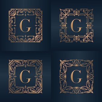Letter g with luxury ornament floral frame