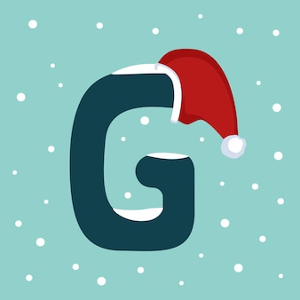 Letter g with snow and red santa claus hat. festive font for christmas and new year