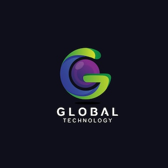 Letter g with sphere in 3d style logo