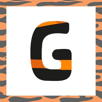 Letter g with tiger pattern festive font and frame from orange with black stripes alphabet symbol fo...