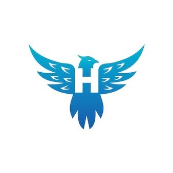 Letter h in bird body illustration logo template