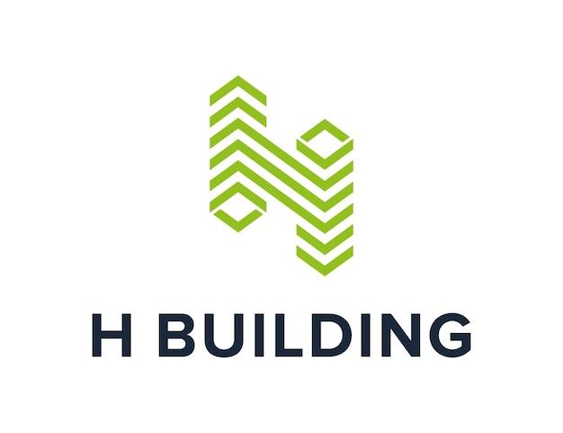 편지 h 건물 아파트 간단한 창조적 인 기하학적 매끄러운 현대 로고 디자인