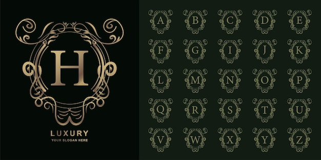 Letter h or collection initial alphabet with luxury ornament floral frame golden logo template.