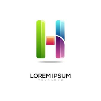 Letter h colorful logo design template modern
