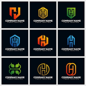 Letter h creative logo design template collections