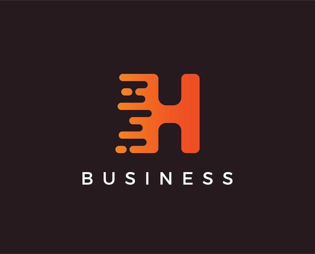 Буква h тире логотип шаблон
