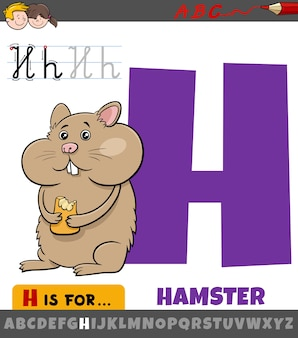 Letter h from alphabet with cartoon hamster animal
