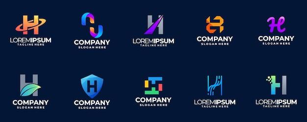 Letter h gradient logo collection