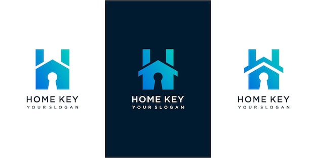 Letter h home key simple logo icon set