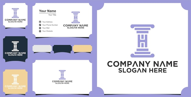 Letter h  law logo design concept vector and business card