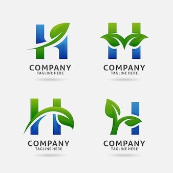 Letter h leaf logo design