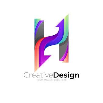 文字hのロゴと矢印のデザインの組み合わせ、カラフル